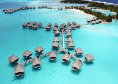 Bora Bora Hotel rooms over sea water.